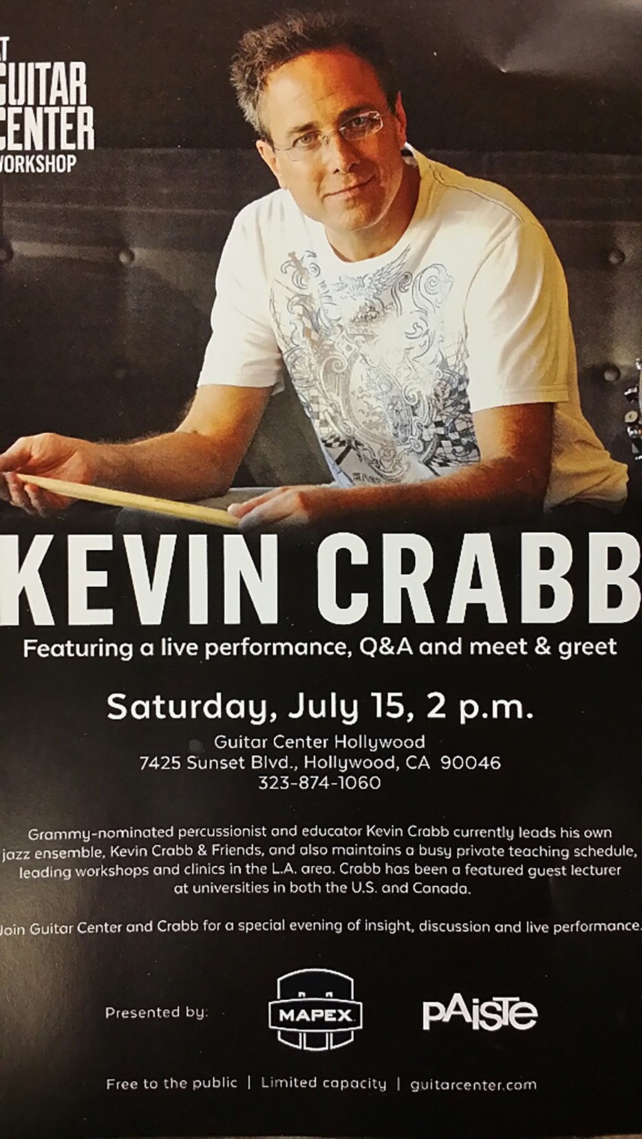 GUITAR CENTER WORKSHOP this SAT, July 15 @ 2PM, Hollywood, CA